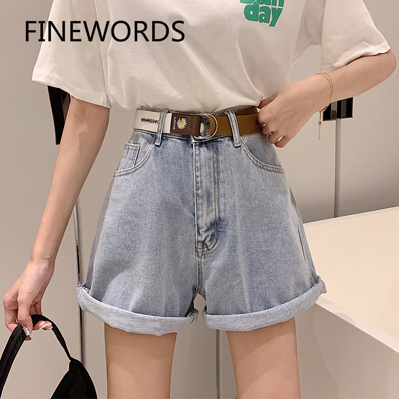 FINEWORDS Summer High Waist Short Jeans With Belt Korean Style Wide Leg Cuff Denim Shorts Plus Size Loose Casual Shorts Jeans