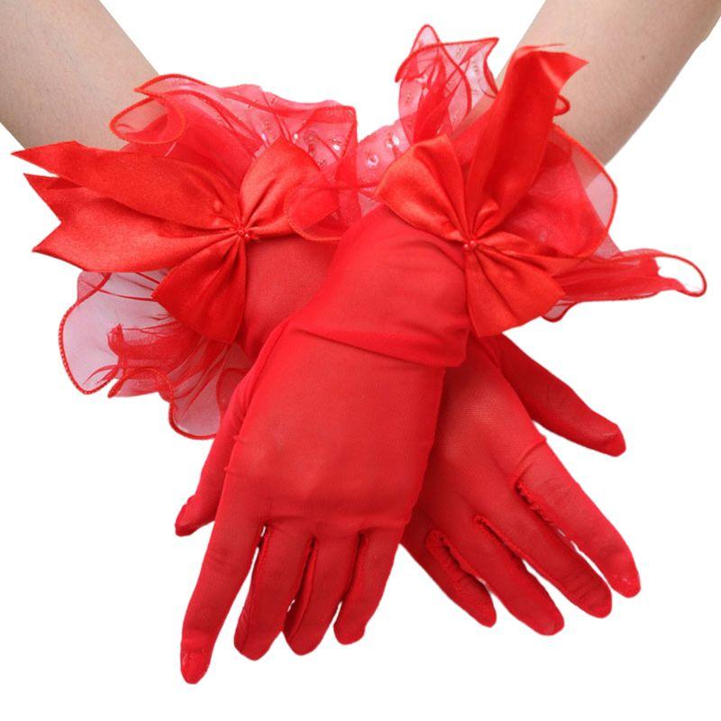 Wedding Bridal Sheer Mesh Thin Short Gloves Satin Bowknot Wavy Ruffles Mittens