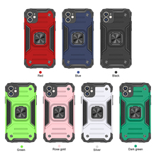 50pcs Shockproof Armor Ring Case on For iPhone 12 11 Pro Max Mini XS X XR SE 2020 7 8 Plus Stand Magnetic Car Holder Cover Coque