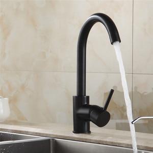 Image 2 - Grifos de latón para cocina grifo de agua del fregadero de cocina grifo giratorio 360, mezclador de un solo soporte, grifo mezclador negro de un solo orificio 7115
