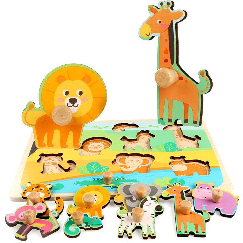 Купить с кэшбэком Children's animal fruit board wooden puzzle toys Laser engraving No burrs baby puzzle Forest/Marine/Farm etc 8 style puzzles toy