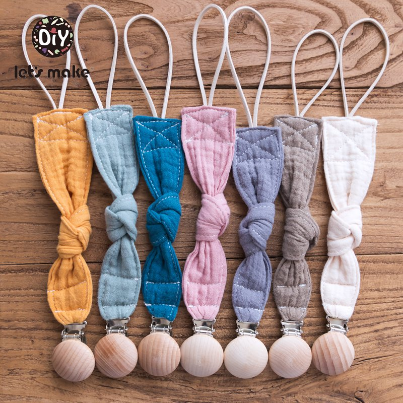 Let's Make Baby Teether Personalized Pacifier Clip Chain Cotton Food Grade Wood Nipple Holder 1PC BPA Free Baby Teething Toys