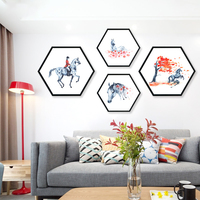 Creative Hexagon Decoration Oil Canvas Painting Horse Drawing Picture Hallyway Living Room Bedroom Art Set Posters And Prints