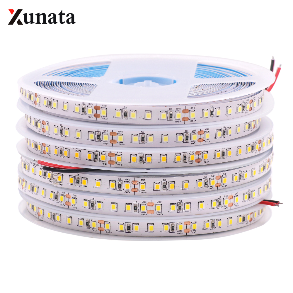 5m 20m 12V 24V 2835 LED Strip Light 120Leds/m Led Strip Waterproof Flexible Led Ribbon Tape Stable Led Light Warm White White