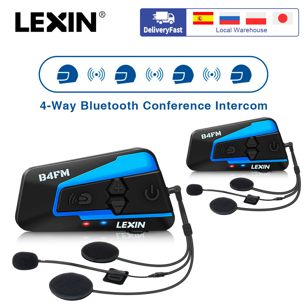 2 uds Lexin B4FM de 4-vias  Bluetooth intercomunicador para casco de motocicleta auriculares manos libres inalámbrico cascos intercomunicadores moto música con FM radio y DSP tecnologia de cancelación de ruido