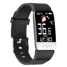 T1S أسورة ساعة ذكية النساء الرجال طفل درجة حرارة الجسم قياس ضغط الدم الأكسجين مراقب معدل ضربات القلب الصحة الأساور