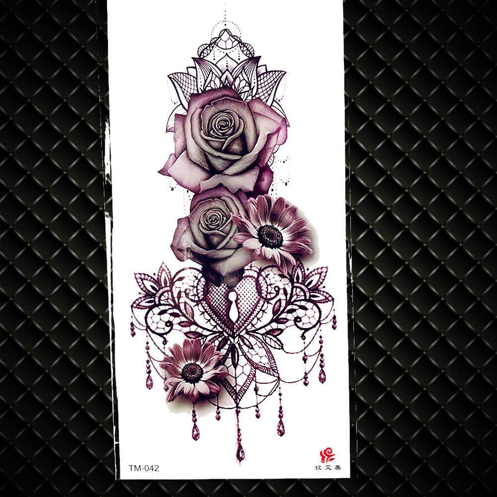 Grande Fiore Della Rosa Tatuaggi Temporanei Falso Gioiellerie Design Impermeabile Del Tatuaggio di Falsificazione Della Decalcomania Donna Ragazze Body Art Tatuaggi Catene Dei Monili