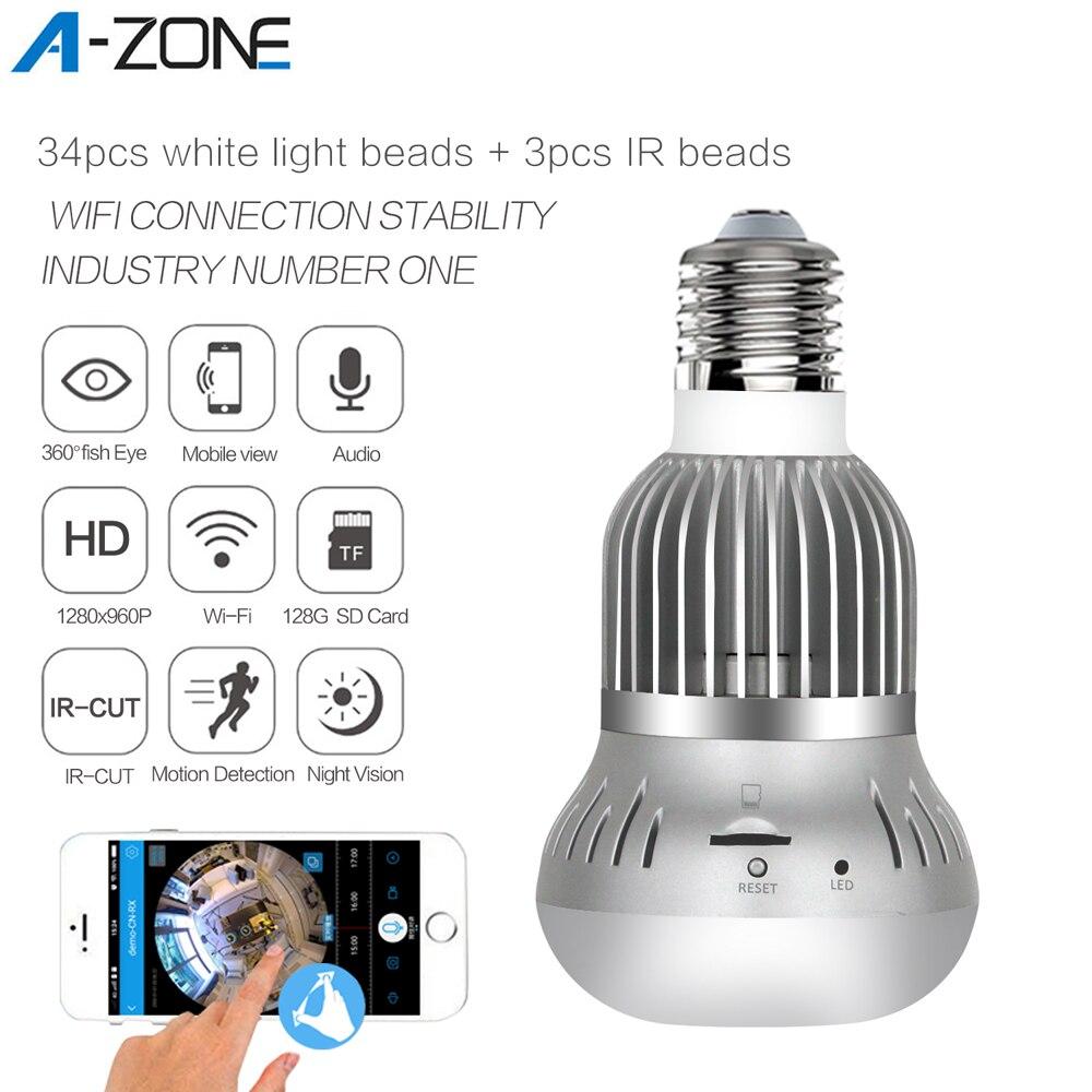 A-ZONE 360 Video Light Bulb IP Camera IR Night Vision Fisheye Panoramic Home CCTV Security Mini Wireless Wifi LED Lamp Camera