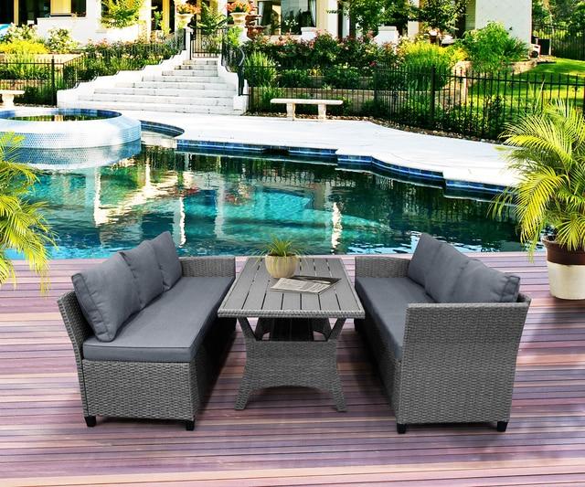 Rattan Patio Furniture Set Dining Table Sofa Wicker Home Furniture Outdoor Garden Poolside Decor Modern 1