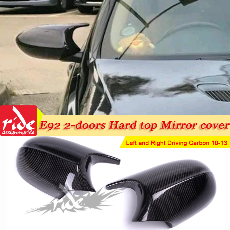 For BMW 3 Series E92 Hard Top Mirror Cover Caps Add on Style M3 Look 1:1 Replacement 100% Real Vacuumed Dry Carbon Fiber 2010 13