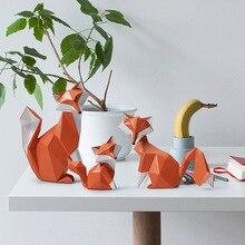 NEW Nordic Modern Abstract Geometric Orange Fox Figurine Statue Desktop Ornament Office Home Decoration Animal Resin Craft Gift