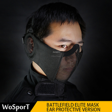 Airsoft Paintball Shooting-Mask Ear-Protection Half-Face Mask-Accessories Military Army