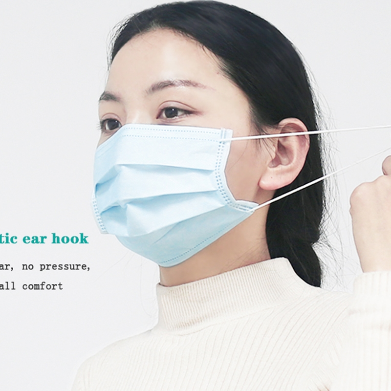 Fast Delivery 3-Layer Mask 50 Pieces Face Mouth Masks Non-Woven Disposable Anti-Dust Meltblown Cloth Masks Ear Hooks Masks