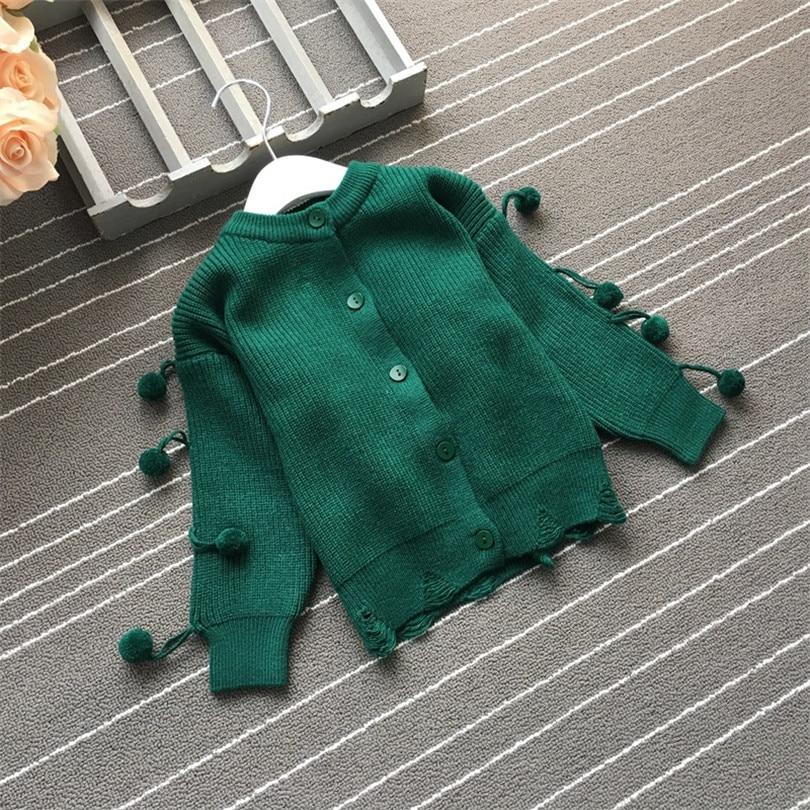 Baby Girl Cardigan Pompom Buttons Knit V-Neck Sweater Autumn Winter Jacket