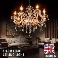 Işıklar ve Aydınlatma'ten Avizeler'de Yeni Modern şeffaf kristal ışık avize 8 kol damlacıkları kolye avizeler oturma odası aydınlatma armatürü