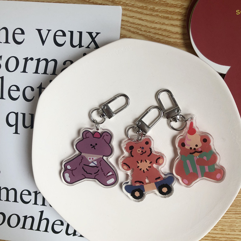 Lovely Bear Charm Accessory For Bags Girls Cartoon Keychains Ornament Children Kwaii Gift