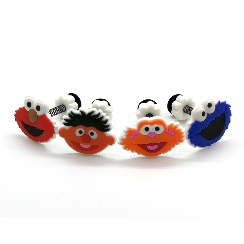 1PC PVC ClassicCartoon Sesame Street Croc Charms Decoration For Shoes Buckles JIBZ Girl Gift Shoe Accessories With Spring Buckle