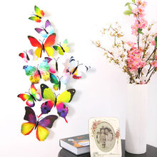 12 adet/takım 3D renkli kelebekler duvar Sticker çocuk odaları DIY sanat duvar dekorasyon Mariposas buzdolabı çıkartmalar ev dekorasyon