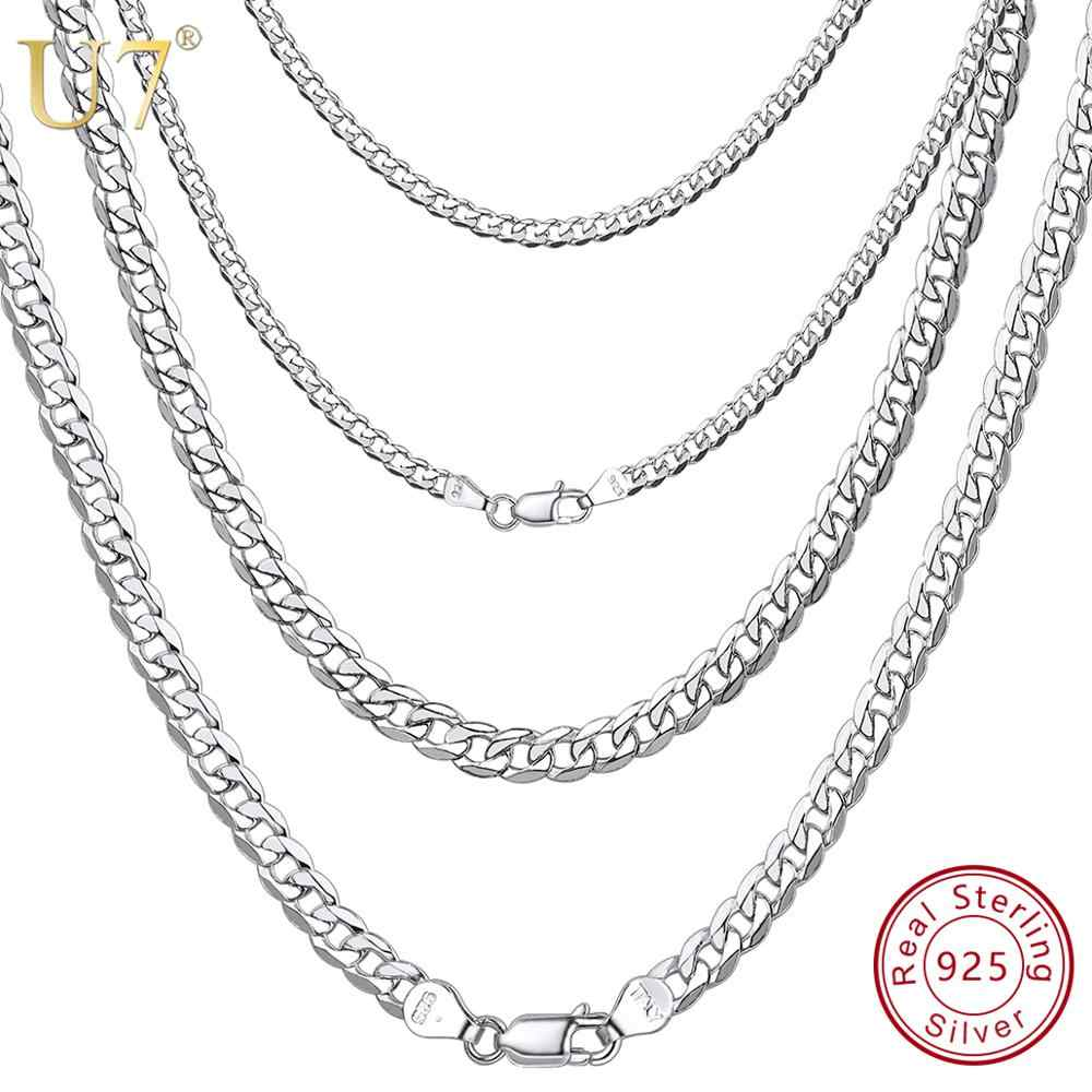 U7 925 Sterling Silver Italian 2.8mm / 2.9mm / 5mm Classic Curb Chain Figaro Link Chain for Men Women Silver Necklace SC289