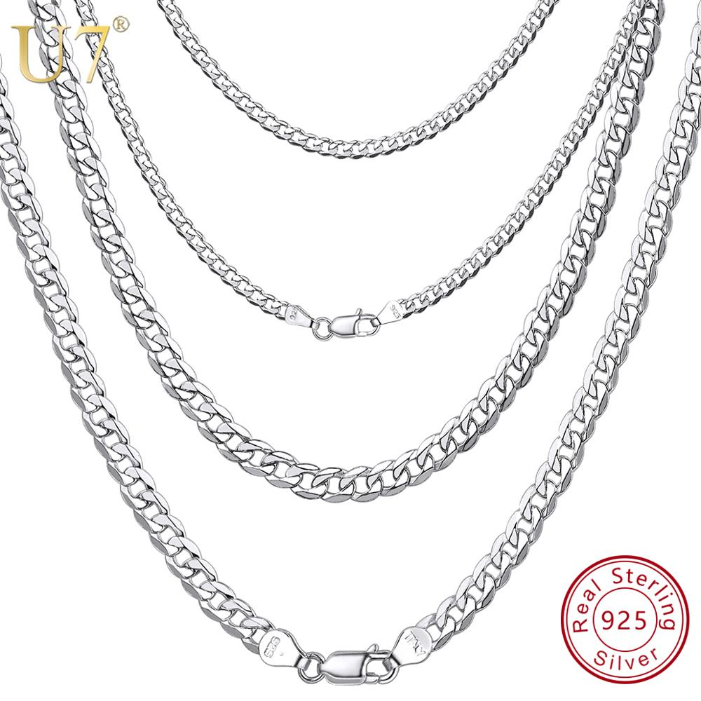 U7 Solid 925 Sterling Silver Chain for Men Women Teen Jewelry Italian Figaro/Cuban Curb Chains Layering Necklace SC289