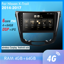 1din PX6 per x-trail X Trail 3 T32 Qashqai 1 J10 2013-2017 autoradio Multimedia lettore Video navigazione GPS Carplay Android 10