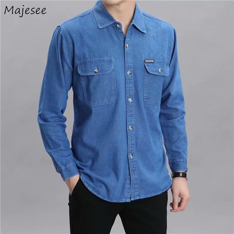 Men Shirts Denim Long Sleeve Spring Cotton Loose 4XL Large Size Office Mens Autumn Outwork Casual Formal Trendy All-match Chic