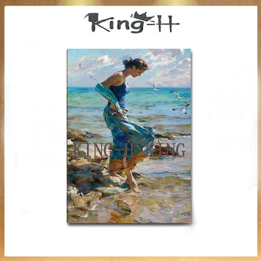 Paisaje de playa hecho a mano de pintor de habilidades hermosa chica vestido mural arte figura pintura la imagen de la sala de estar Adorno