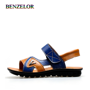 BENZELOR 2020 New Summer Soft Non-slip Genuine Leather Shoes Kids Sandals Children Boys Comfortable Child School Beach Sandalia(China)
