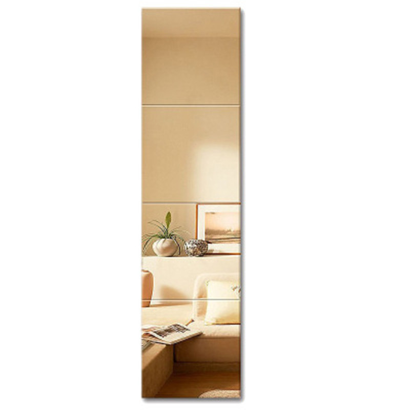 4Pcs 22*22 Dressing mirror pasted on wall spliced household For student dormitory Living room Bedroom full-body mirrors Decor