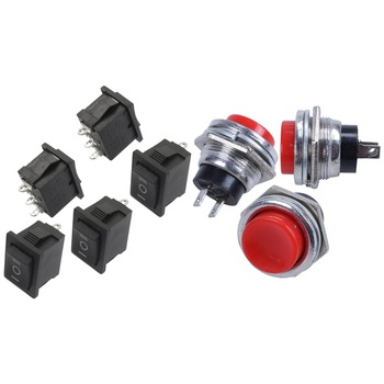 5 Pcs SPDT On/Off/On Mini Black 3 Pin Rocker Switch & 3 Pcs AC 125V 3A SPST Normal Open Momentary Push Button Switch 50pcs 12 8mm dc 30v 1a black on off mini push button switch for electric torch 1208yd