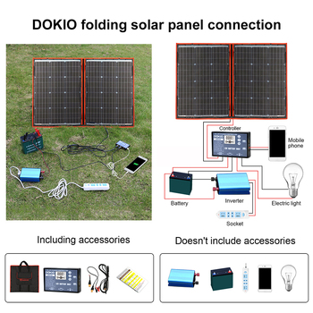 Dokio 100W 110W (55Wx2Pcs) 18V Flexible Black Solar Panels China Foldable + 12/24V Volt Controller 110 Watt Panels Solar 4