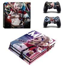 Tự Sát Đội Hình Harley Quinn PS4 Pro Da Miếng Dán Decal Vinyl Dành Cho Playstation 4 Và 2 Bộ Điều Khiển PS4 Pro Da miếng Dán Kính Cường Lực