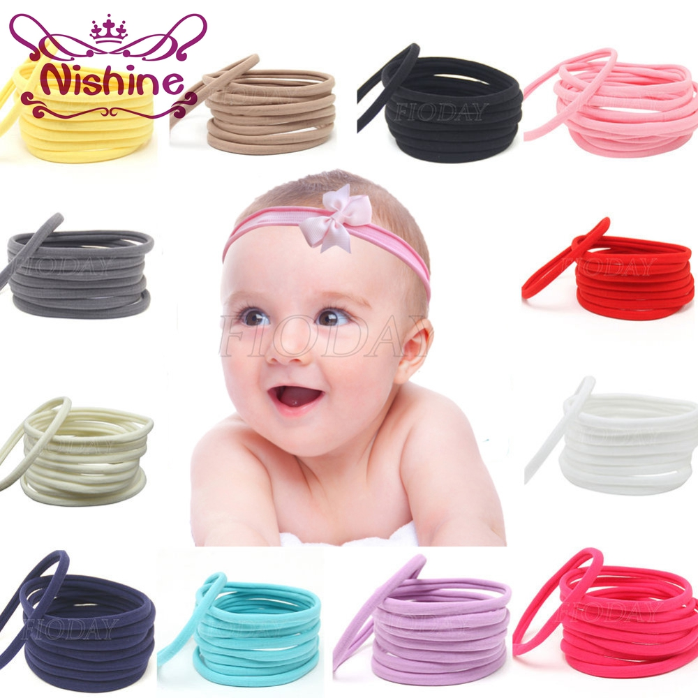 Nishine 12pcs/lot Nylon Headband For Baby Girl DIY Hair Accessories Elastic Head Band Kids Children Fashion Headwear