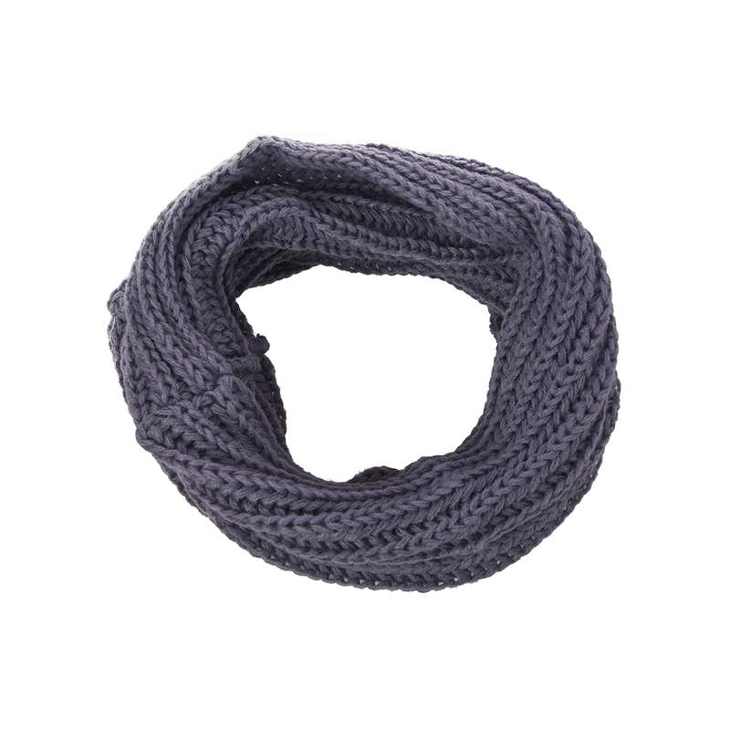 Men Women Woolen Knit Winter Warm Cowl Neck Infinity Circle Scarf Shawl Xmas Gift Wine Gray
