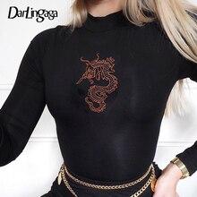 Darlingaga Streetwear Dragon Print Long Sleeve Bodysuit Autumn Female Body Bodyc