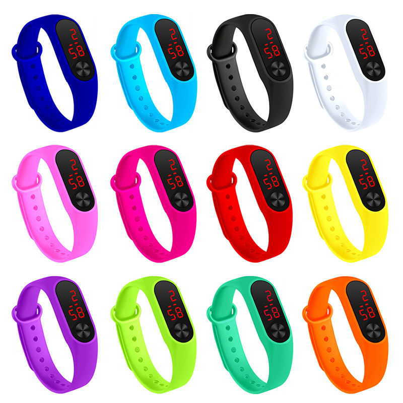 Newly Men Women Sports Watch LED PU Strap For Couple FIF66