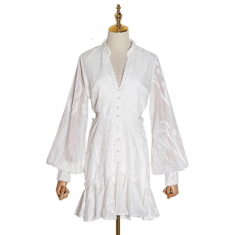 Новый магазин знак сексуальный росы талии v шеи фонарь рукав новый фонд зимы Тяжелая вышивка Белое платье женщина - 5