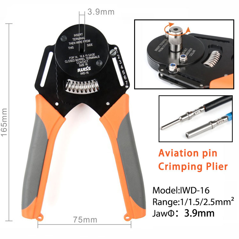 IWD-16 Suitable For Deutsch Connector Crimping Pliers Machining Car Terminal Lathe Male And Female Pin 16# Mini Crimping Pliers