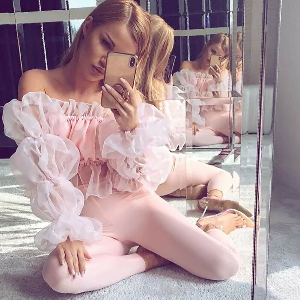 Fashion Women Ladies Off Shoulder Puff Sleeve Frilly Blouse Women Lace Elegant Tops Blouse Shirts Clothes