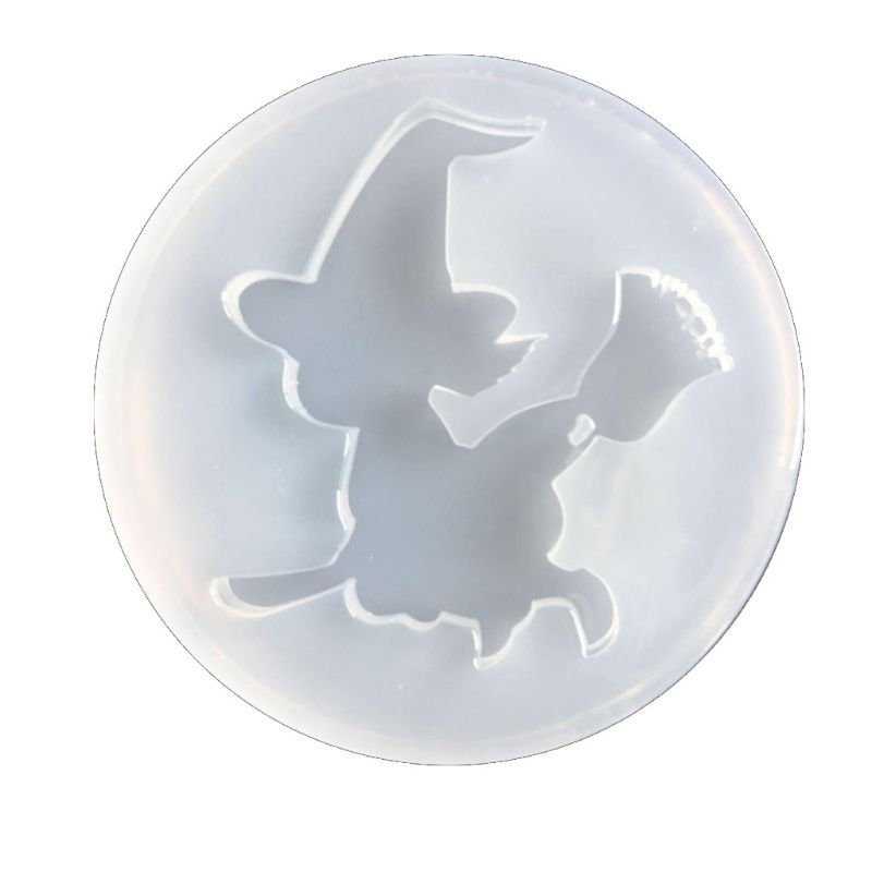 Halloween Witch Pendant  Mold Epoxy Resin Silicone Mold Jewelry Making Art Craft T4MD