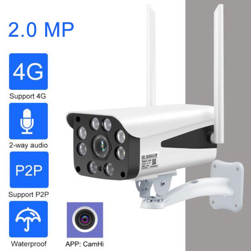 3G/4G LTE Mobile Security Camera 1080P HD Outdoor Waterproof Camera Wireless 2-Way Audio Night Vision With Micro SD Card Slot