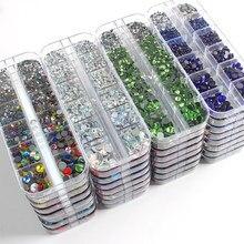 Novo tamanho mix SS6-SS30 1000 pçs hotfix strass 12 grade caixa embalagem de cristal e pedra para roupas frete grátis