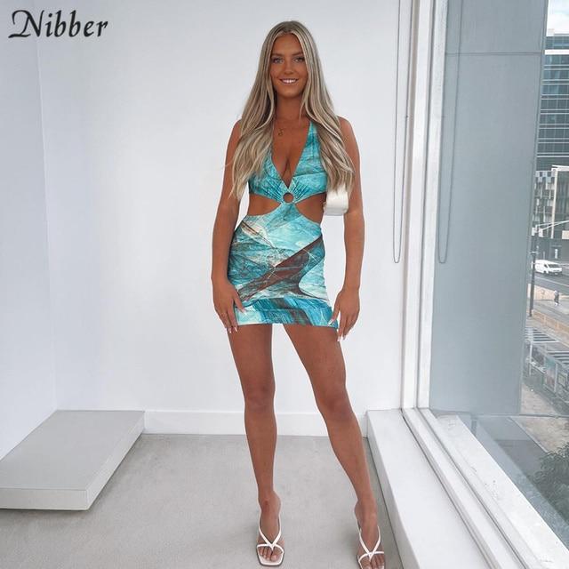 Nibber-Vestidos ahuecados con contraste salvaje para mujer, ropa de calle de retazos, informal, corte bajo, Halter, Sexy, de verano 6