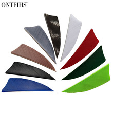 ONTFIHS New 100PCS 2 Shield Multicolor Archery Fletches Arrow Feather Fletching Turkey RW
