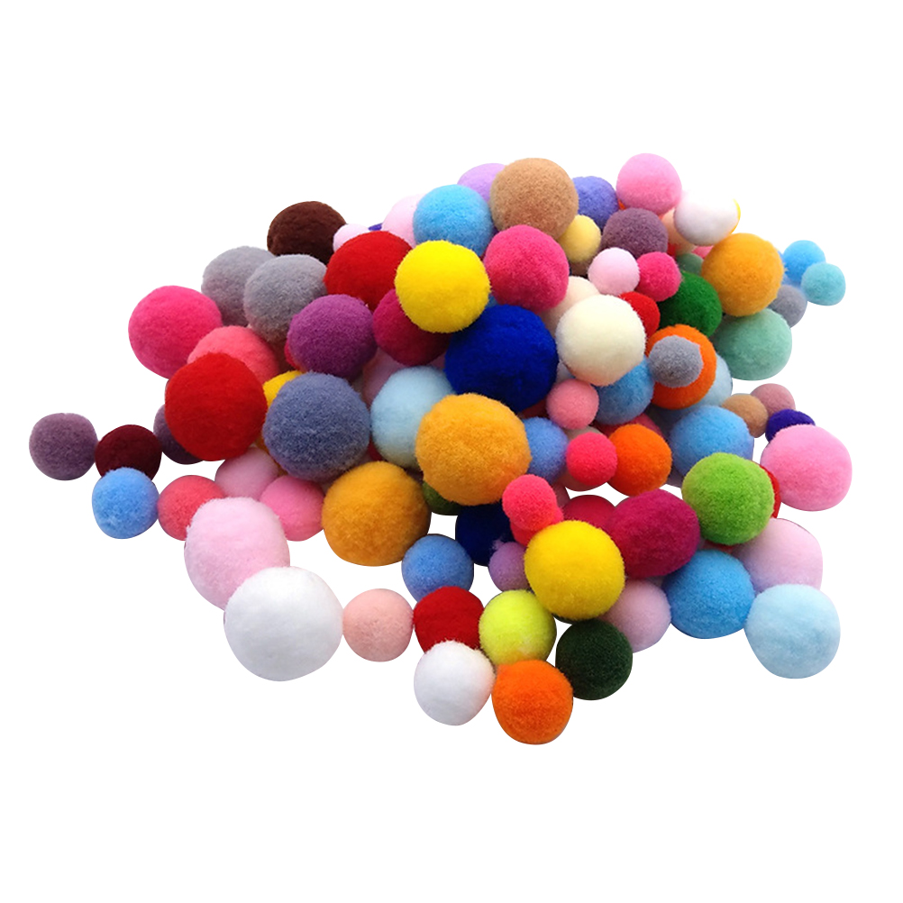 160Pcs Colorful Pompon DIY Handmade Material Pom Ball Kindergarten Prop Fluffy Balls (Mixed Color)