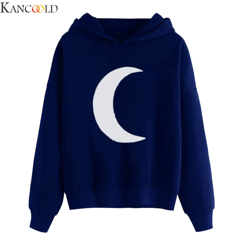 KANCOOLD Women Moon Print Autumn Winter Long Simple Sleeve Hoodie Sweatshirt Hooded Pullover Tops Blouse New Style Hot Sale
