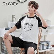 CAIYIER хлопок мужчины пижамы комплект лето мультфильм принт одежда для сна короткие рукав шорты пижама для мужчин ночное белье досуг верхняя одежда L-4XL