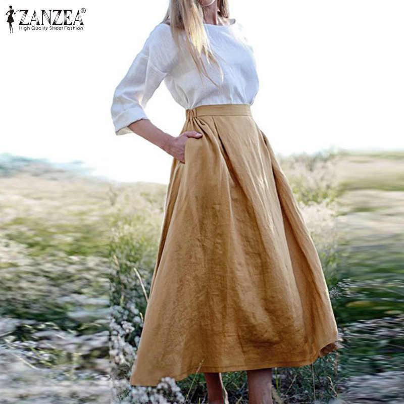 ZANZEA femmes Jupe Midi décontracté taille élastique poches coton jupes femme ample solide a-ligne Faldas bureau travail Jupe surdimensionné
