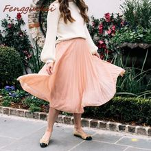 2019 New Women fashion solid color buttons pleated midi skirt faldas mujer elegant ladies chic business mid-calf skirts chic solid color flouncing pleated wearable chiffon pashmina for women