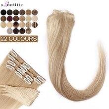 Grampo em extensões de cabelo humano cauda fina 8 pçs/set loira ombre extensões de cabelo natural não remy 10